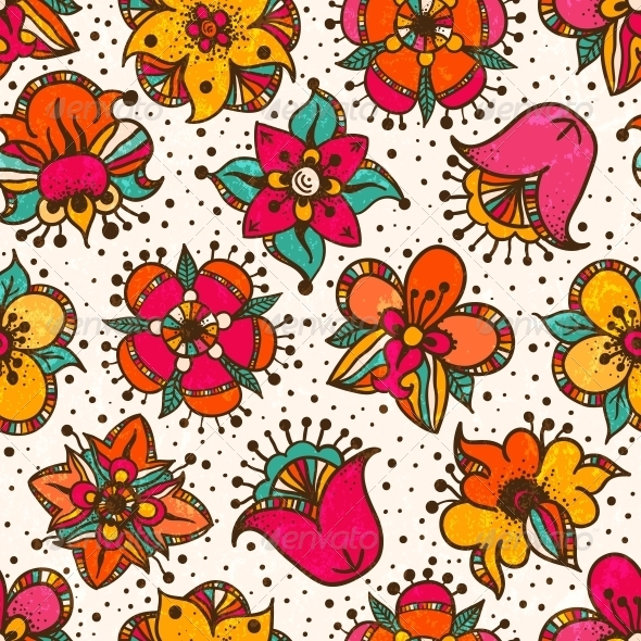 Seamless Floral Pattern. - Flourishes / Swirls Decorative