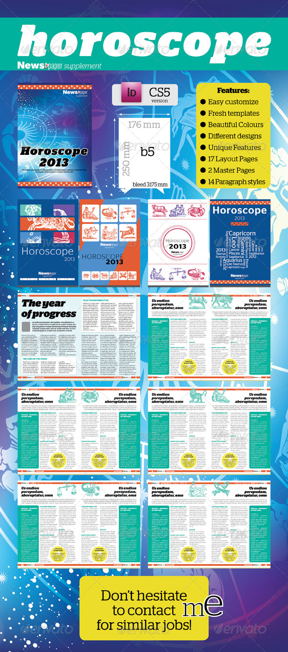 16 pages Horoscop Supplement For News.paper - Newsletters Print Templates