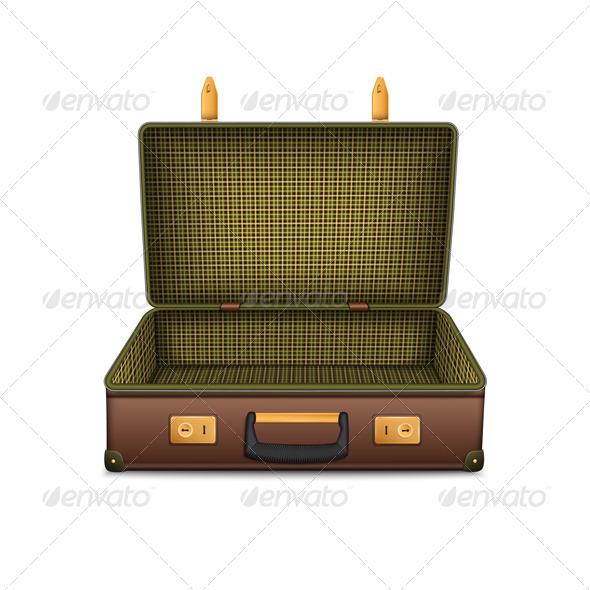 Empty Retro Suitcase - Travel Conceptual