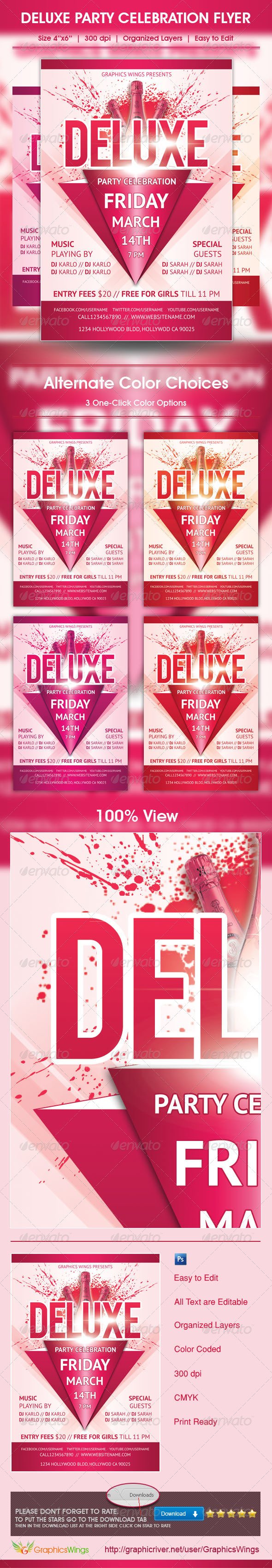 Deluxe Party Celebration Flyer Template - Clubs & Parties Events
