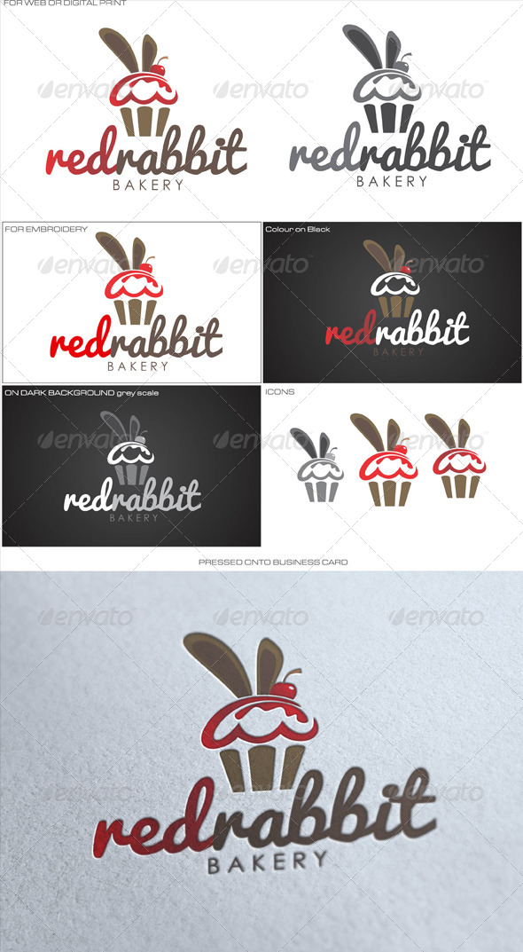 Red Rabbit Bakery - Food Logo Templates