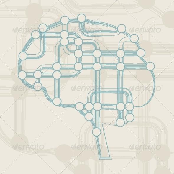 Retro Circuit Board form of Brain - Retro Technology