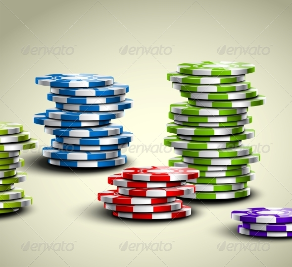 Colorful Casino Chips - Sports/Activity Conceptual