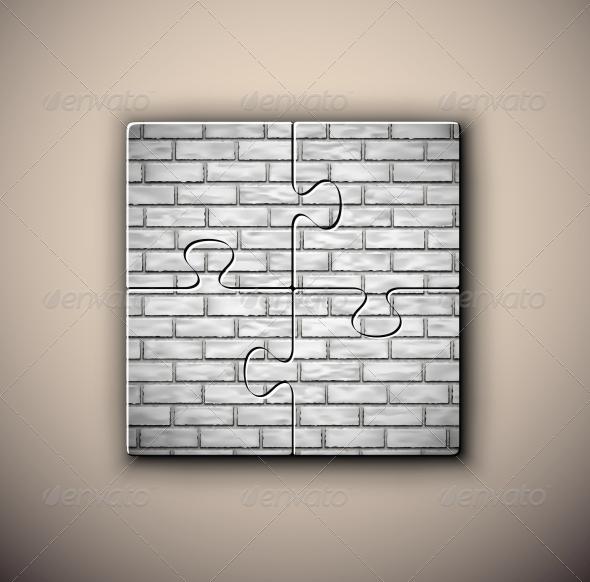 Brick Background on Puzzle - Backgrounds Decorative