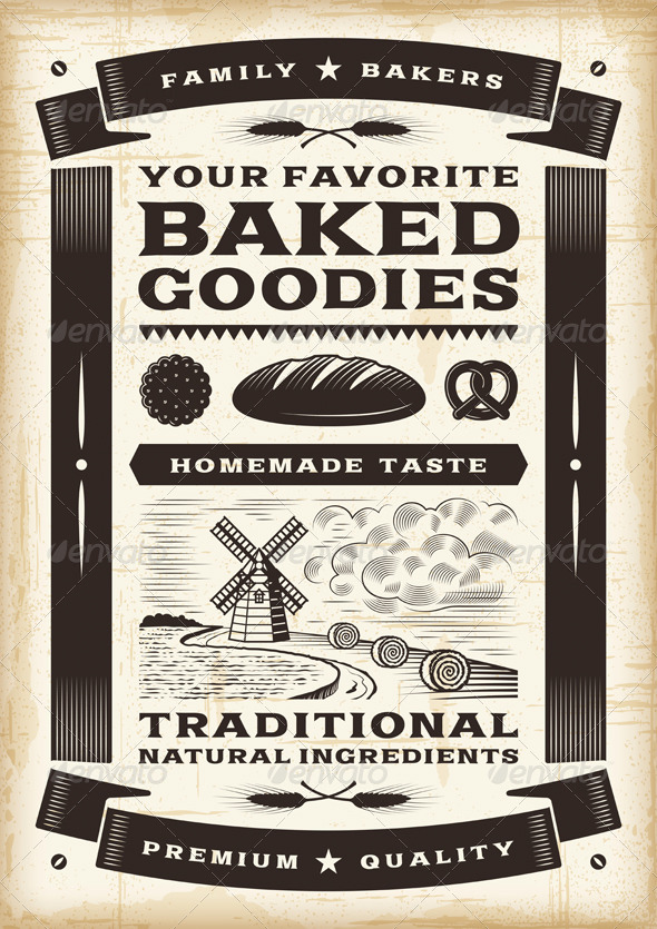 Vintage Bakery Poster - Food Objects