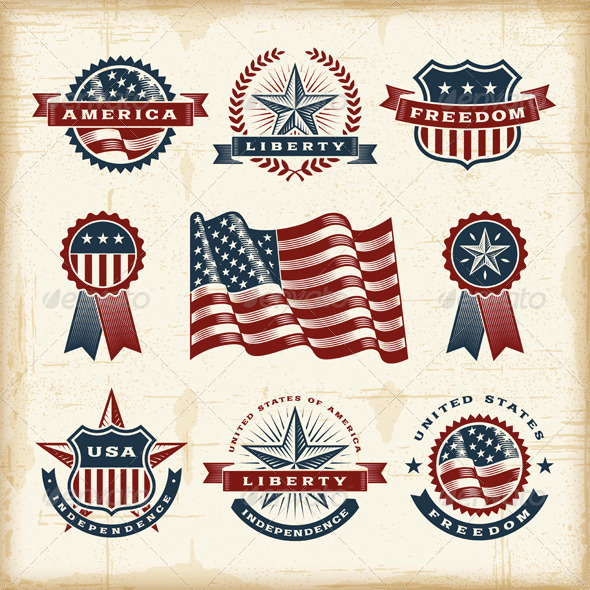 Vintage American Labels Set - Decorative Symbols Decorative
