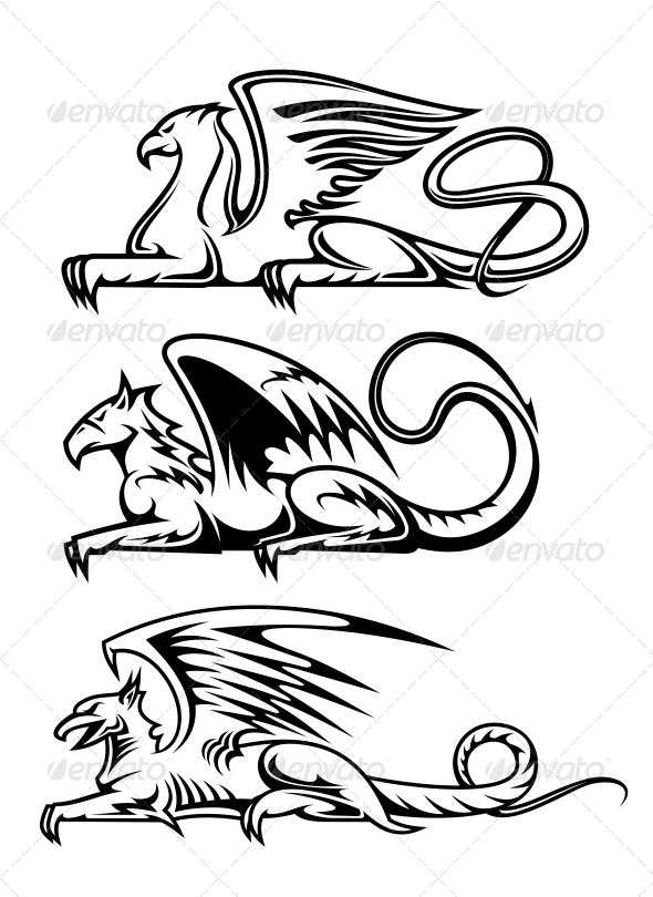 Medieval Gryphons Set - Monsters Characters
