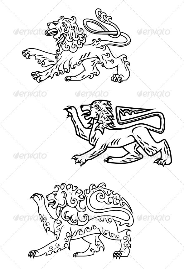 Vintage Healdic Lions Set - Animals Characters