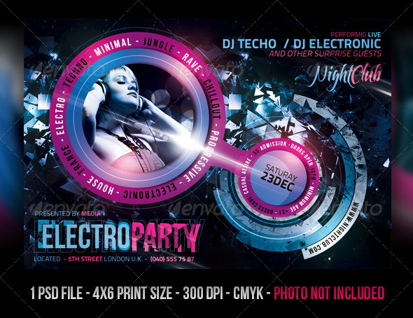 Electro Night Club Party Flyer - Clubs & Parties Events