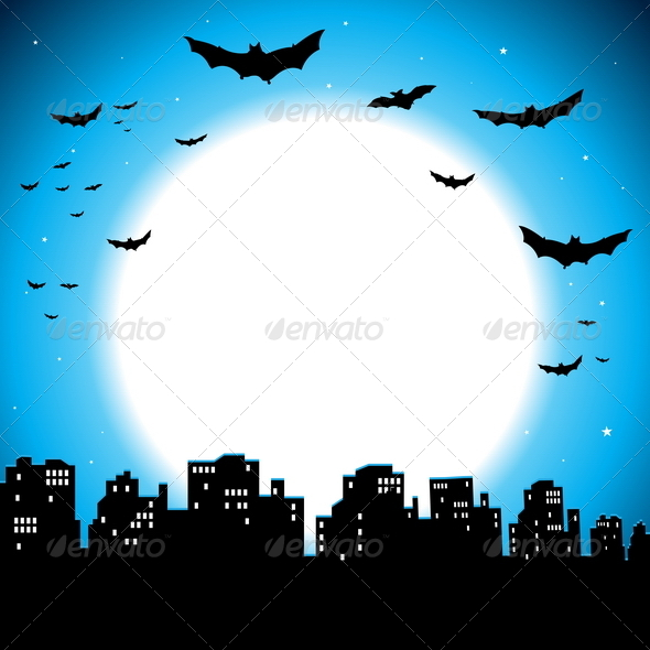 City Halloween Background - Backgrounds Decorative