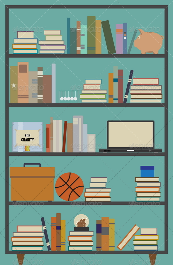 Retro Bookshelf - Man-made Objects Objects