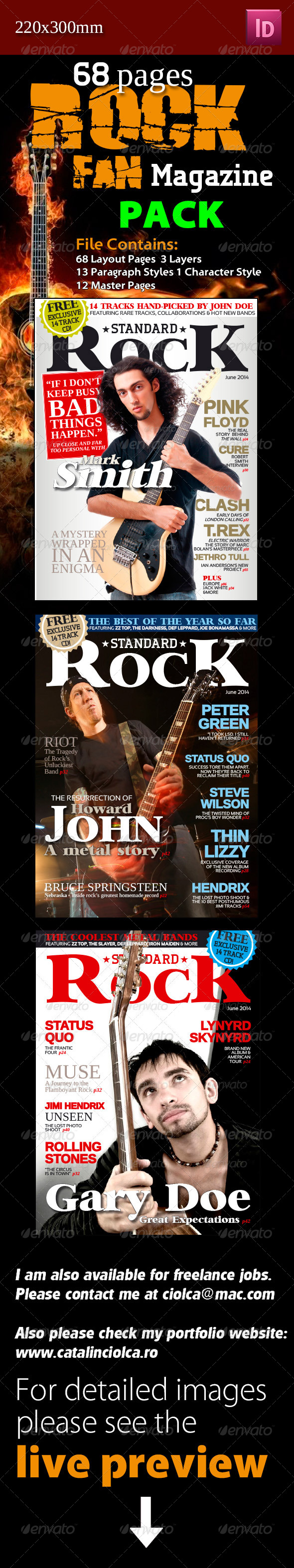 68 Pages Rock Fan Magazine Pack - Magazines Print Templates