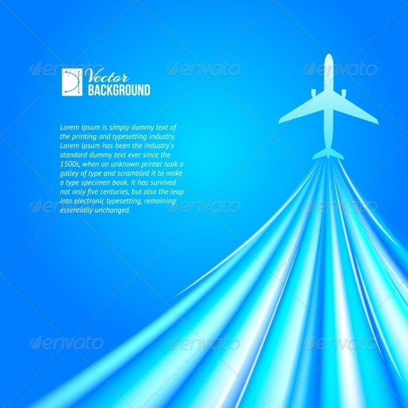 Airplane over Blue Background - Abstract Conceptual