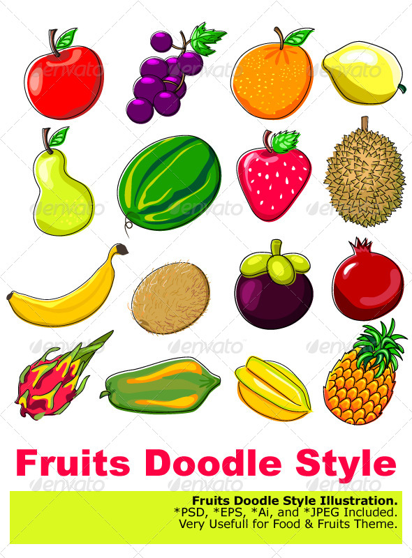 Fresh Fruits Doodle Style - Food Objects