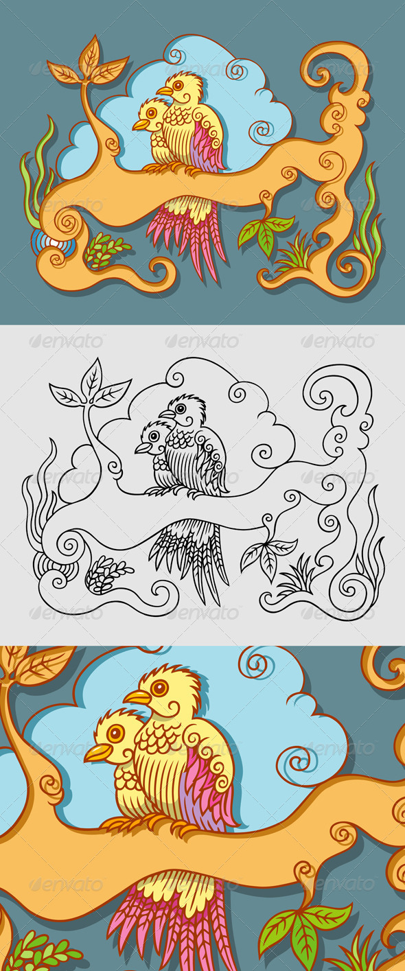 Two Birds Decorative - Decorative Symbols Decorative