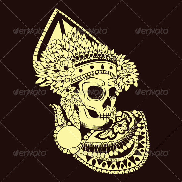 Baris Skull Balinese Dances - People Characters