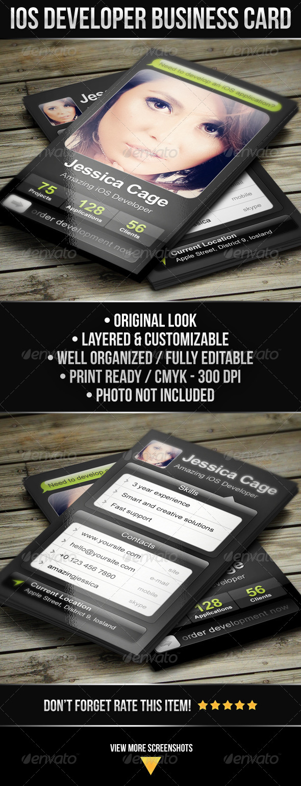 iOS Developer Business Card - Industry Specific Business Cards