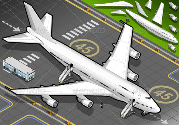 Isometric White Airplane in Front View - Conceptual Vectors