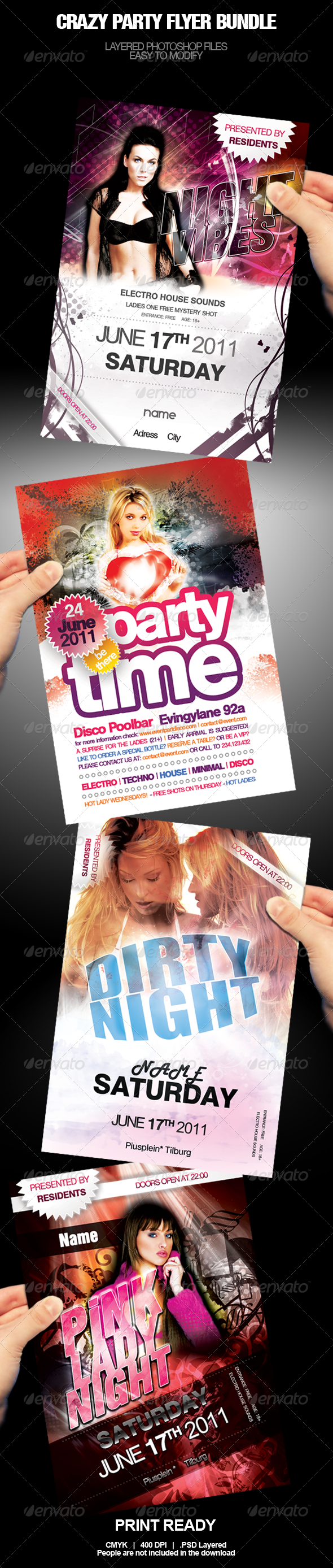 Crazy Party Flyer Bundle - Clubs & Parties Events