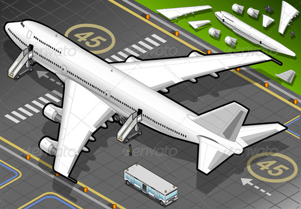Isometric White Airplane in Rear View - Conceptual Vectors