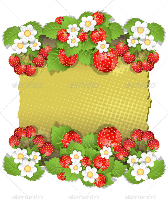 Background with Strawberry - Backgrounds Decorative