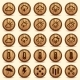 Wood Weather Icons in Brown Background - GraphicRiver Item for Sale