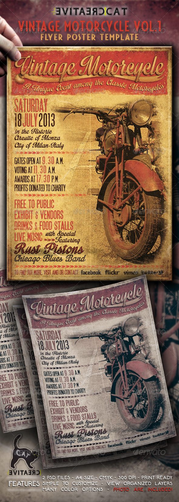 Vintage Motorcycle Flyer/Poster Vol.1 - Events Flyers