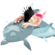 Swimming Child with Dolphins-Isolated - GraphicRiver Item for Sale