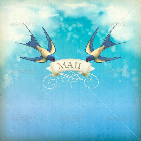 Swallows Mail Vintage Postcard - Retro Technology