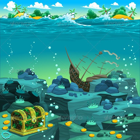 Seascape with Treasure and Galleon.  - Landscapes Nature