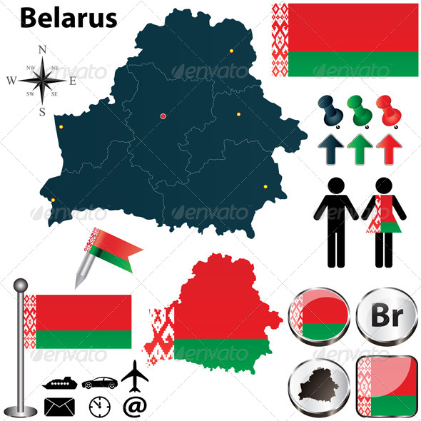 Map of Belarus - Travel Conceptual