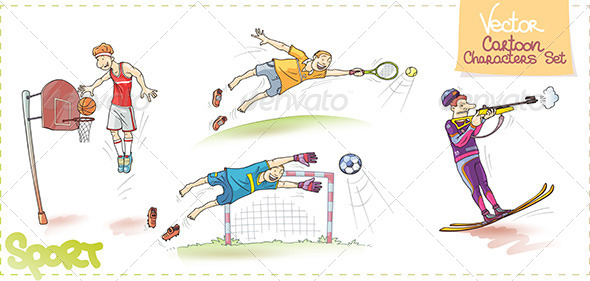 Vector Cartoon Sports Characters Set - Sports/Activity Conceptual
