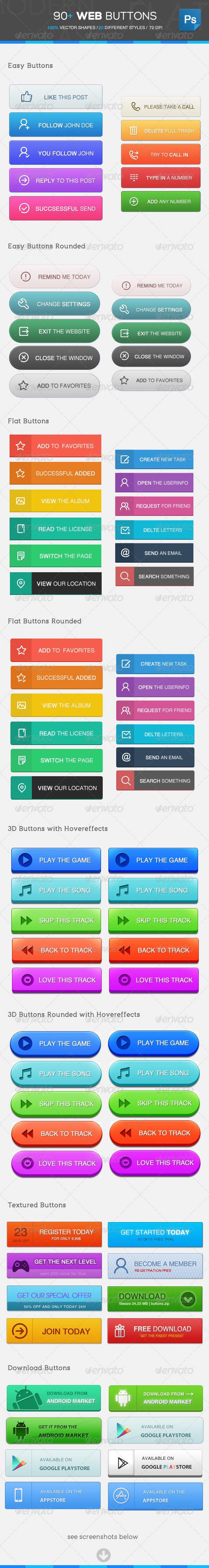90+ Web Buttons - Buttons Web Elements