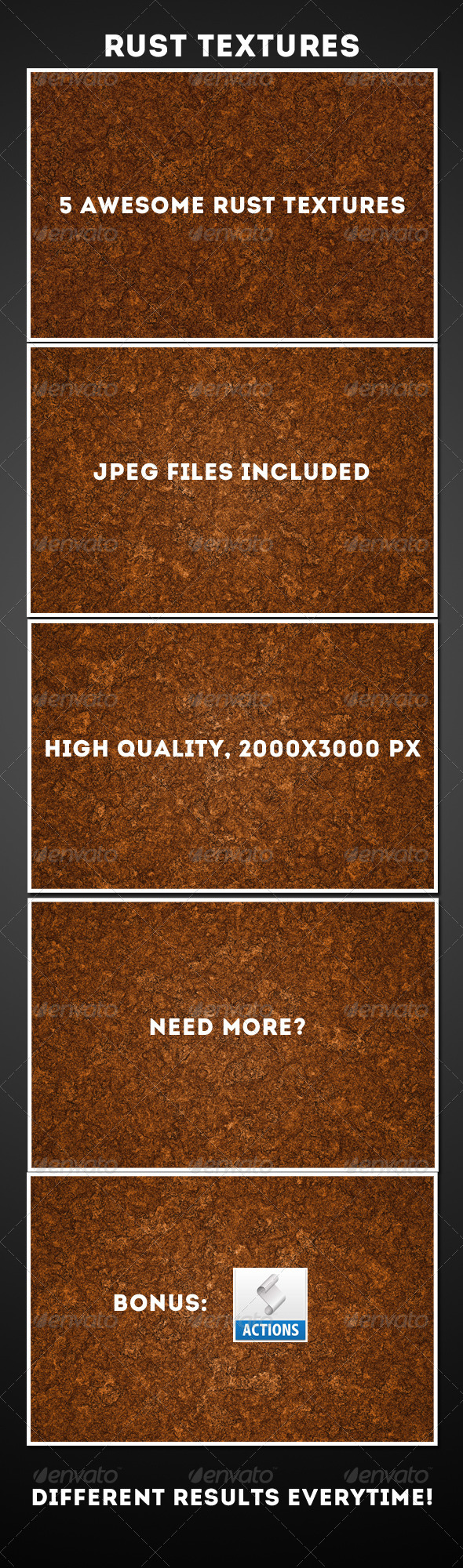 5 Rust Texture + Action pack - Industrial / Grunge Textures