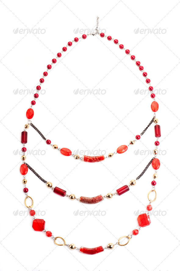 Red gem necklace - Stock Photo - Images