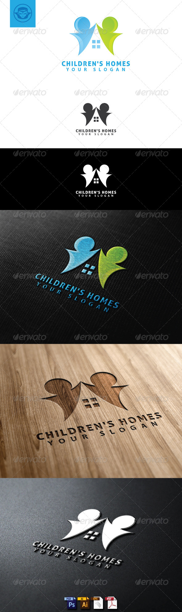 Children Homes Logo Template - Humans Logo Templates