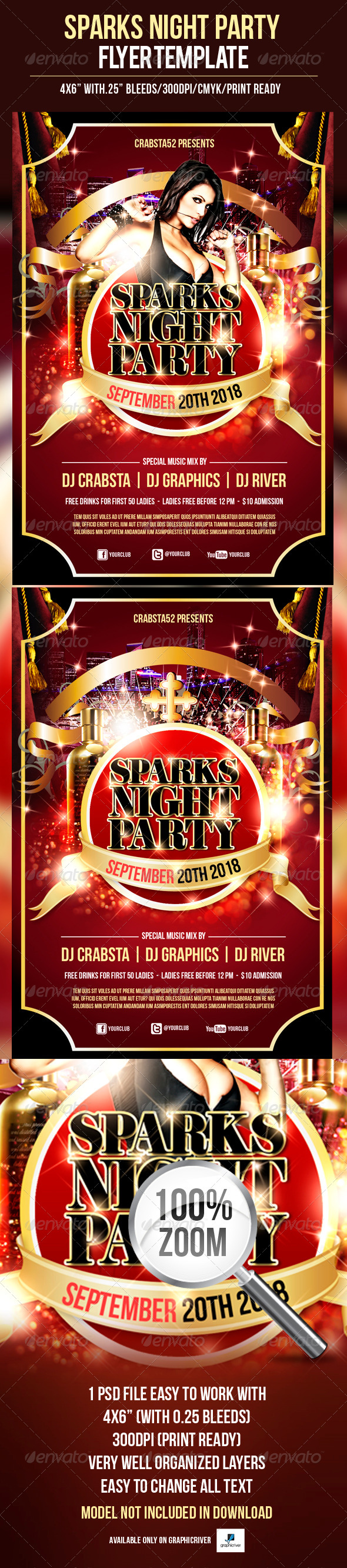 Sparks Night Party Flyer Template - Clubs & Parties Events