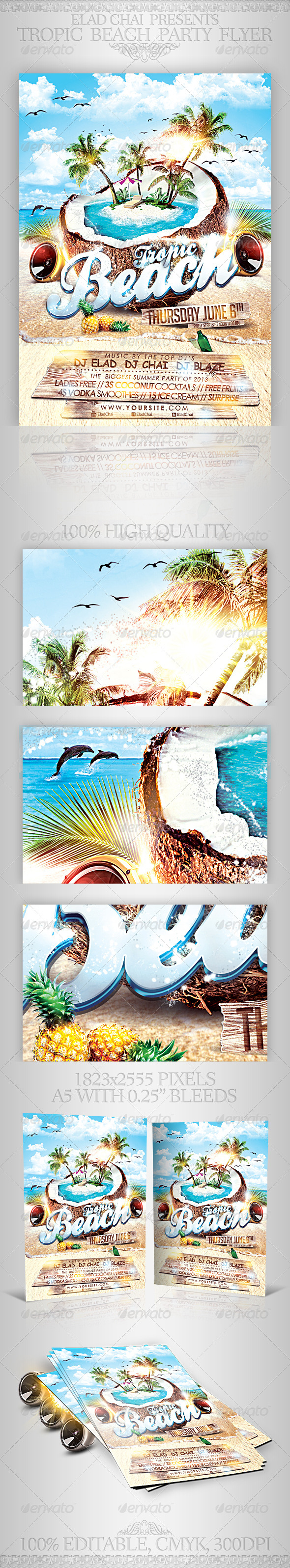 Tropic Beach Summer Party Flyer Template - Clubs & Parties Events