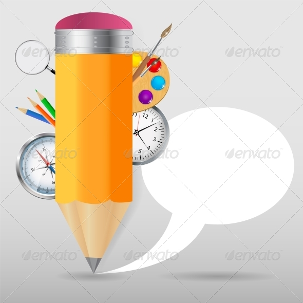 Pencil with Speech Bubble Vector Illustration - Web Technology