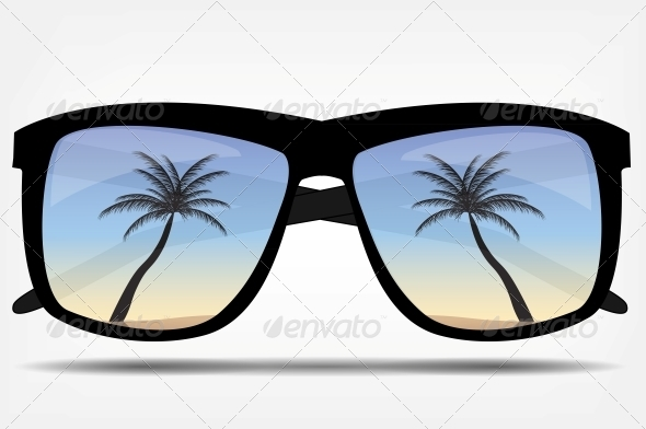 Sunglasses with a Palm Tree Vector Illustration - Seasons Nature