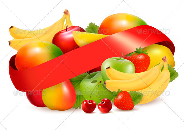 Group of Summer and Tropical Fruit with Ribbon - Food Objects