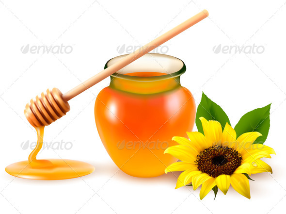 Jar of Honey and a Dipstick with Yellow Flower - Food Objects