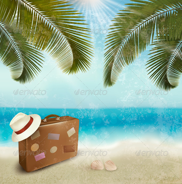 Vintage Beautiful Seaside Background with Suitcase - Travel Conceptual