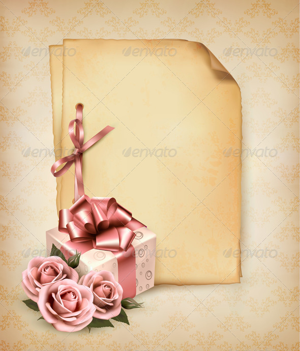 Holiday Retro Background with Pink Roses and Gift  - Birthdays Seasons/Holidays