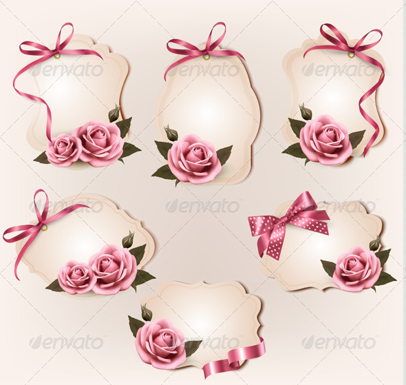 Set of Retro Labels with Pink Rose - Decorative Vectors