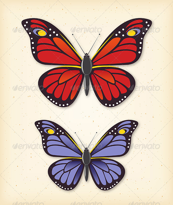 Summer Butterfly Vector Set - Animals Characters