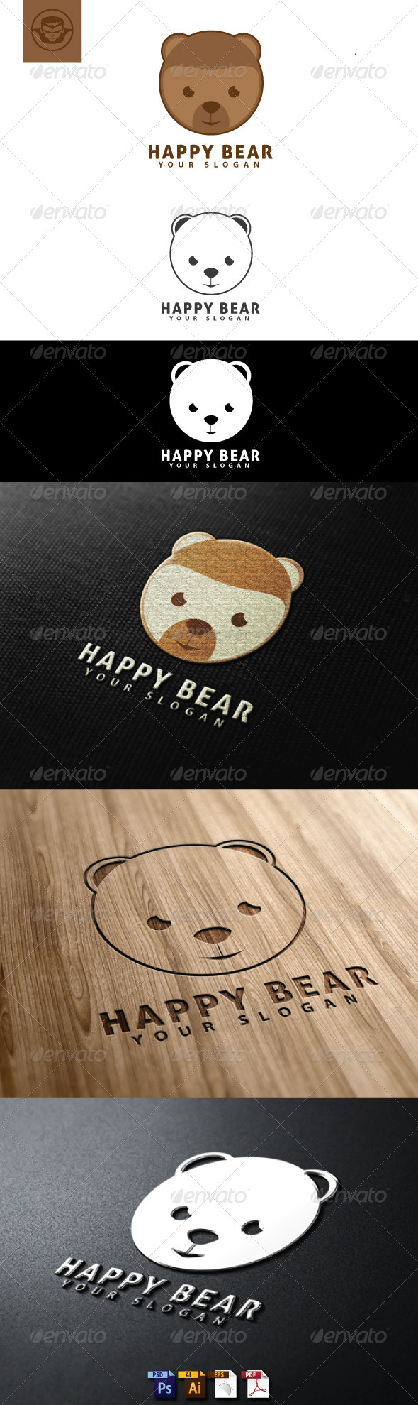 Happy Bear Logo Template - Animals Logo Templates