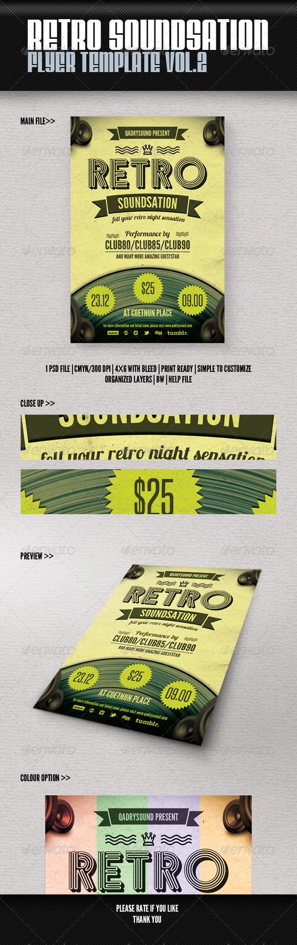Retro Soundsation Flyer Vol. 2 - Retro/Vintage Business Cards