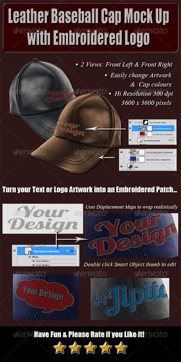 Leather Baseball Cap Mock Up with Embroidered Logo - Miscellaneous Apparel