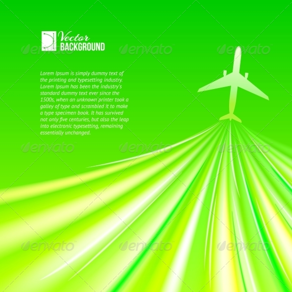 Illustration of Airplane around the Green. - Abstract Conceptual